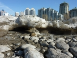 recording melting ice by the bow river in Calgary