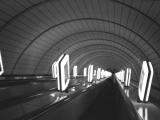 b&w analog film photo: Kiev metro station