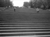 b&w analog film photo: Potemkin steps in Odessa